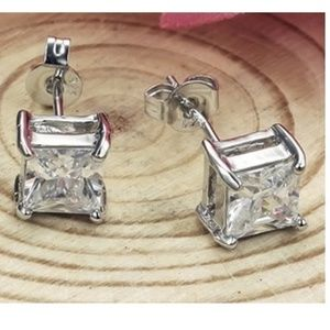 1.50CTW Princess Cut Diamond cz Stud Earrings